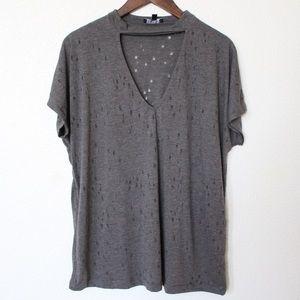 Tops - Gray Choker V-Neck Cutout T-Shirt